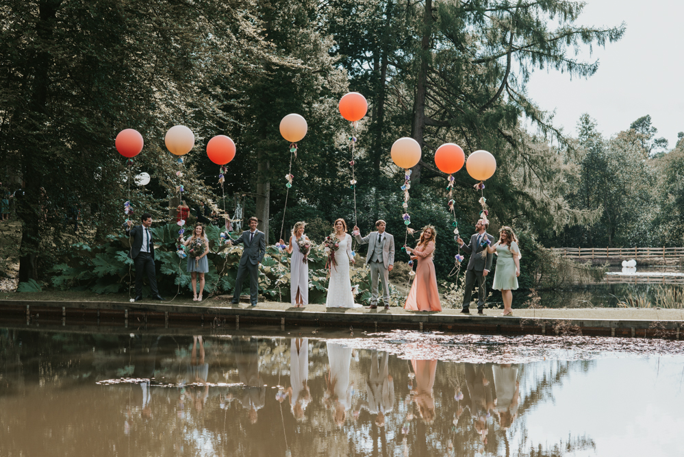 UK-bride-Lauren-and-her-wedding-party-she-wears-the-Valentina-long-sleeve-lace-wedding-dress