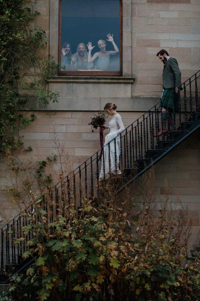 bride-ruth-in-her-lace-nontraditional-wedding-dress-at-cambo-estate-in-scotland
