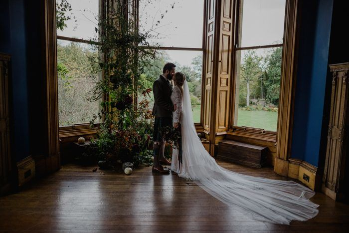 bride-and-groom-at-their-bohemian-wedding-at-cambo-estate-in-Scotland