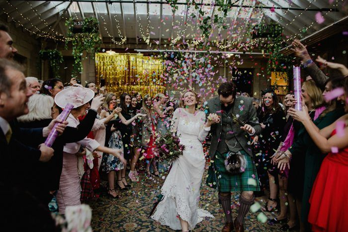 confetti-exit-at-a-bohemian-wedding-in-Scotland