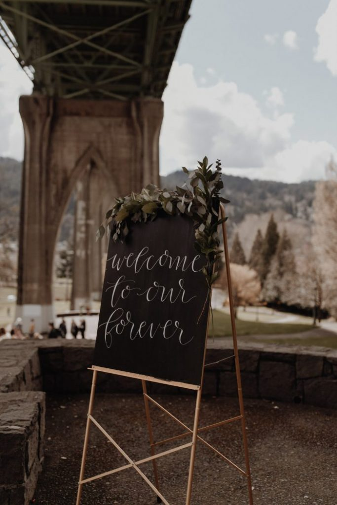 welcome-sign-cathedral-park-wedding-Portland-Oregon