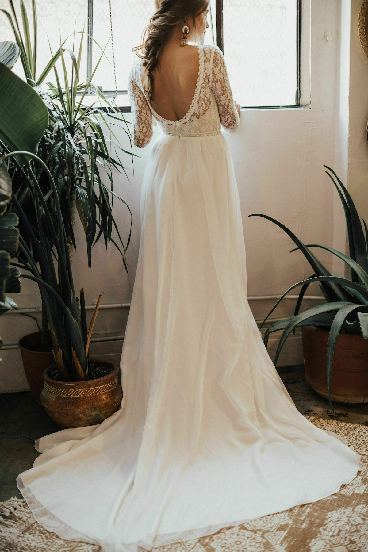 Ines Lace and Silk Flowy Wedding Dress | Dreamers and Lovers