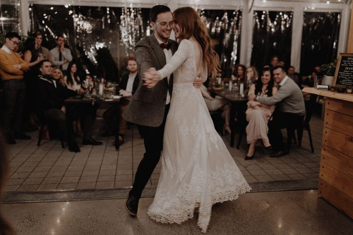the-first-dance-bride-and-groom-at-their-Portland-intimate-wedding-reception