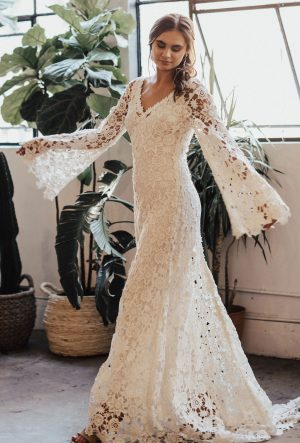 Arabelle-crocheted-wedding-dress-with-bell-sleeves