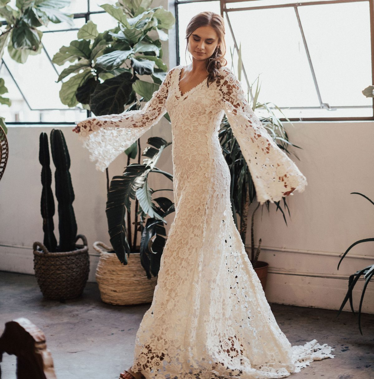 Wedding Dresess: Arabelle Boho Crocheted Wedding Dress