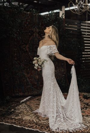 CALLISTA OFF THE SHOULDER LACE WEDDING DRESS
