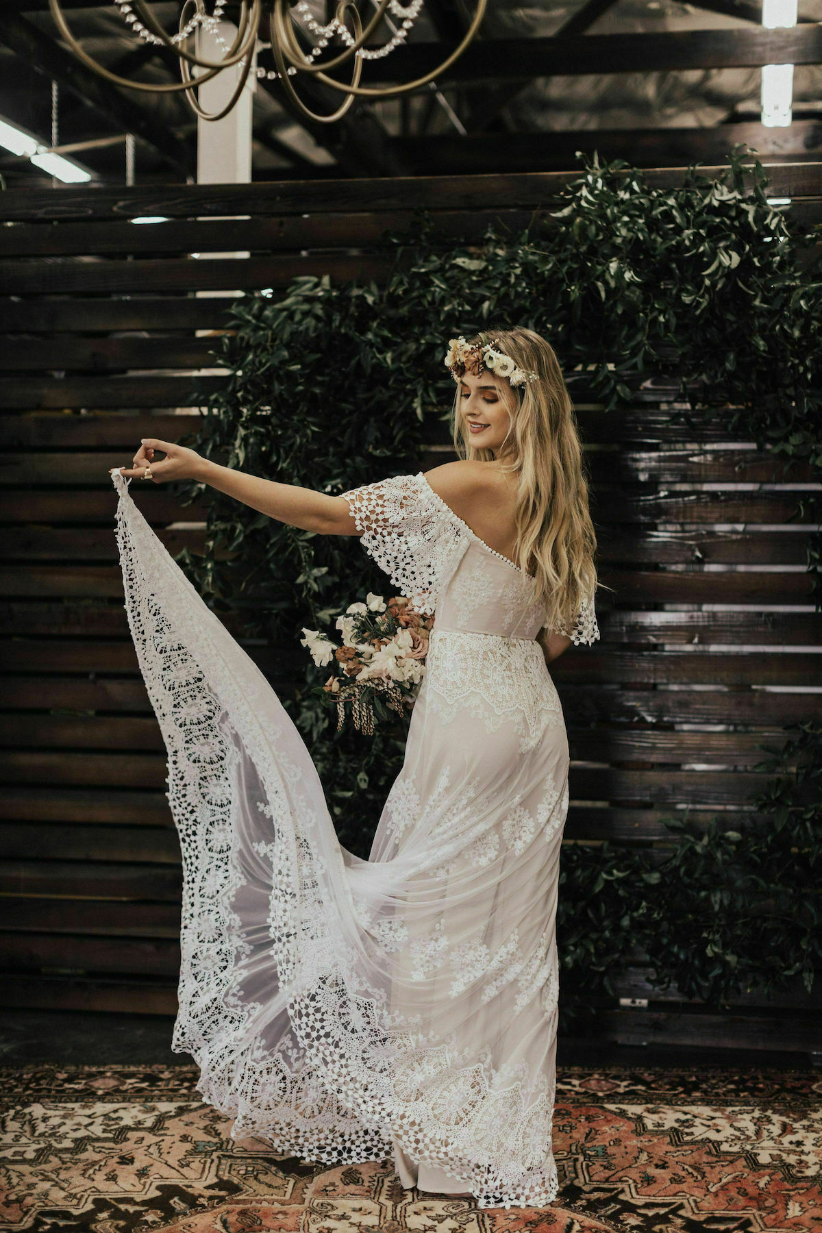 Dreamers-and-Lovers-bohemian-lace-wedding-dress-made-from-mesh-applique-lace
