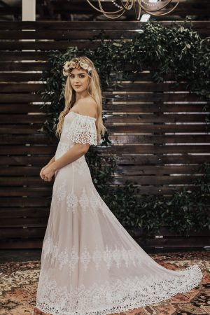 Carrie-off-the-shoulder-wedding-dress-with-crochet-detailing-and-train