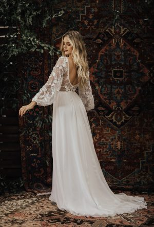 YAYA LACE AND SILK WEDDING DRESS - Cotton Lace & Silk Flowy Wedding Gown