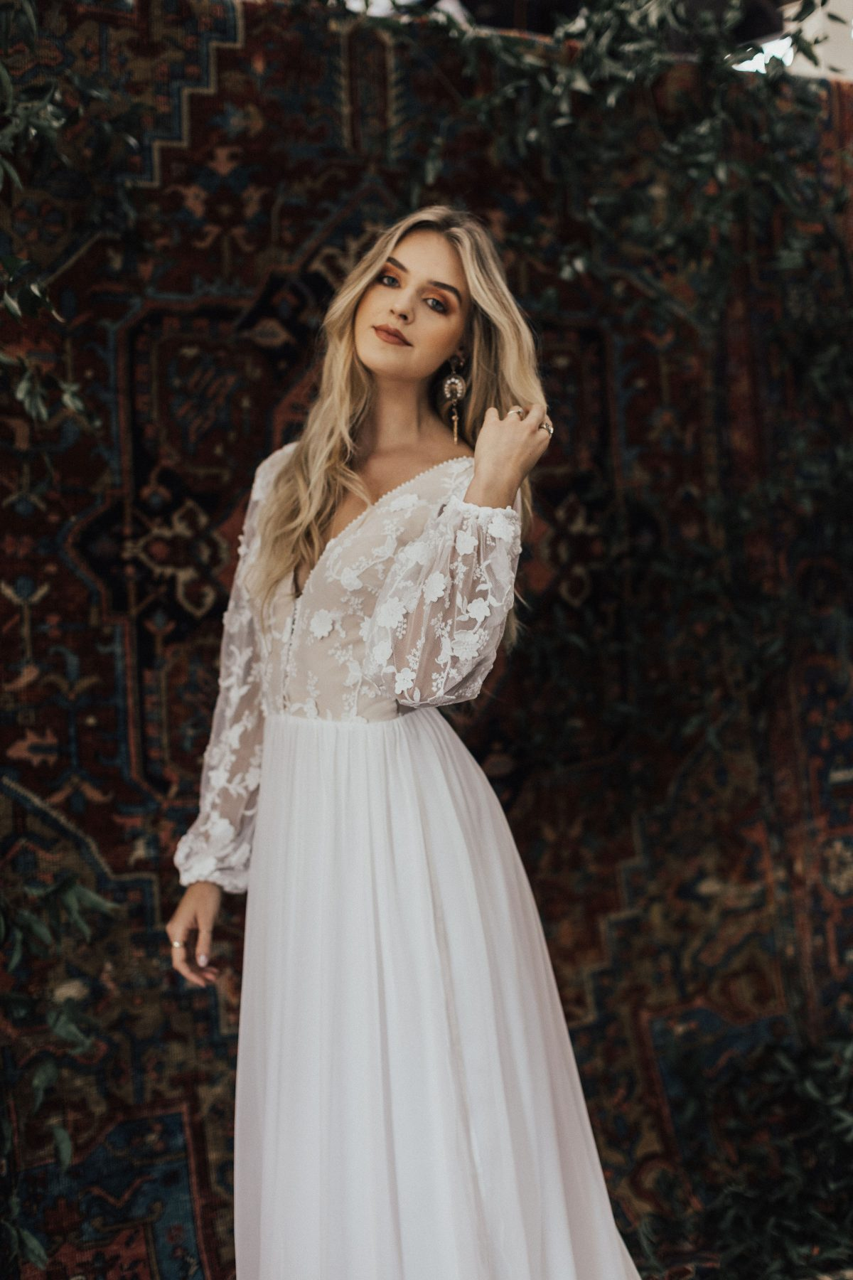 a-boho-bride-dream-dress-made-from-textured-floral-lace-and-silk-chifon-skirt-with-train