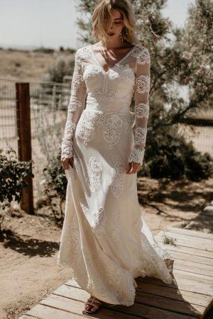 Celeste-long-sleeves-bohemian-wedding-dress-is-a-dream-gown