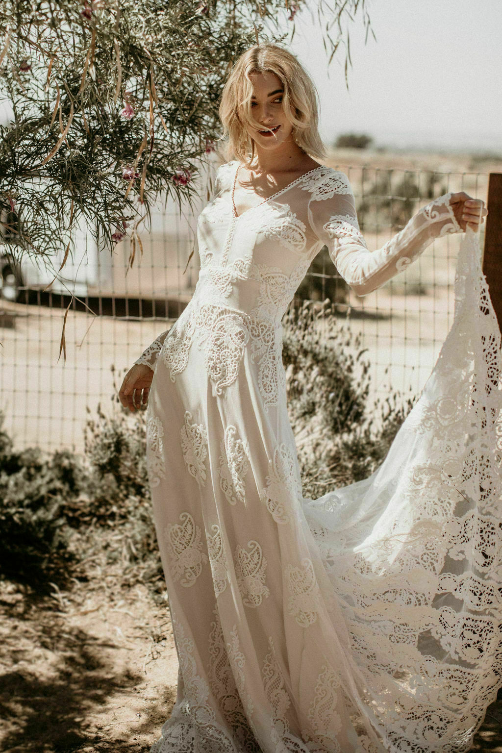 Celeste Lace Bohemian Wedding Dress Dreamers And Lovers
