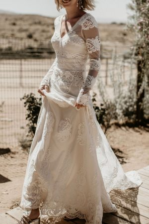 Celeste-lace-wedding-gown-long-sleeved-fitted-waist-flowy-aline-skirt