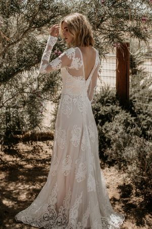Celeste-dreamy-bohemian-wedding-dress-crafted-from-mesh-lace-and-as-comfortable-as-can-be