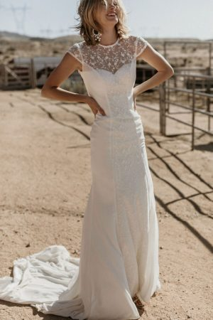 evie-crepe-and-lace-high-neck-cut-out-open-back-wedding-dress-with-panels