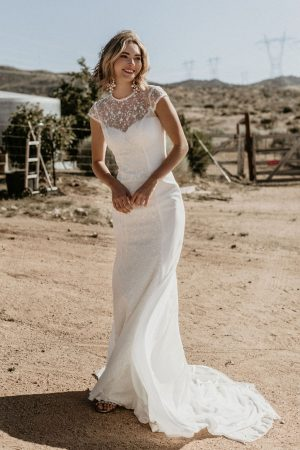 evie-crepe-and-lace-high-neck-cut-out-open-back-wedding-dress-cap-sleeves-and-long-train