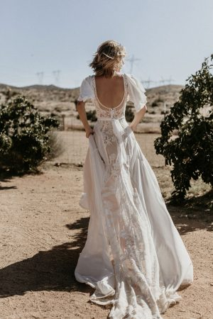 One-of-a-kind-Hayley-lace-and-crepe-romantic-wedding-dress-with-cape-sleeves