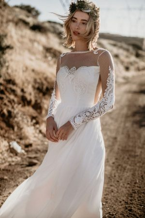 jane-silk-and-lace-romantic-flowy-wedding-dress-open-back-high-neckline-handsewn-applique