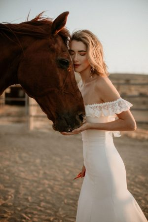 Poppy-off-the-shoulder-crepe-simple-bohemian-wedding-dress-for-the-modern-bride