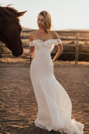 Poppy-off-the-shoulder-crepe-simple-bohemian-wedding-dress-fitted-silhouette-and-elegant-train
