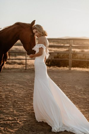 Poppy-off-the-shoulder-crepe-simple-bohemian-wedding-dress-for-the-bride-who-likes-just-a-touch-of-lace