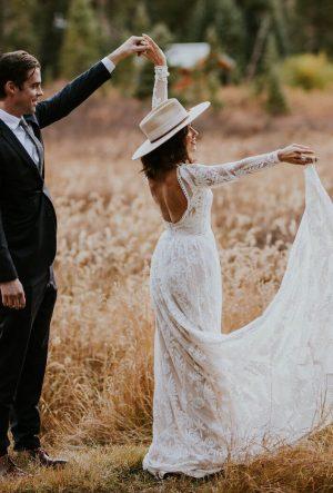 Simone High Neck Low Back Wedding Dress