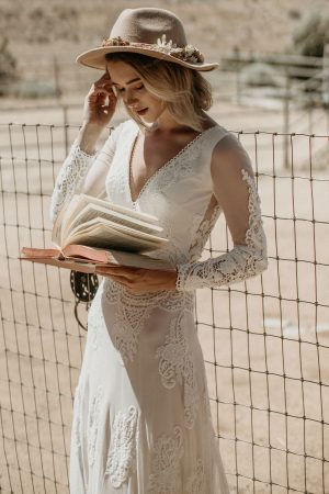 Victoria-Dream-Bohemian-Lace-Wedding-Dress-with-Long-Sleeves-Backless-close-up-view