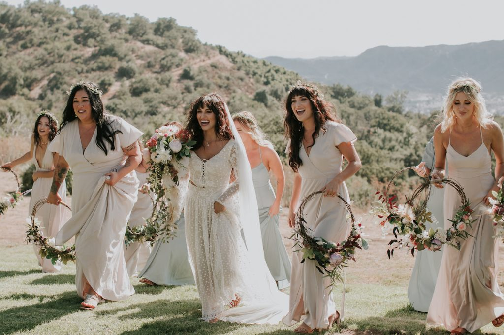 Bohemian-Bride-with-her-Bridesmaids-at-Condor's-Nest-Ranch