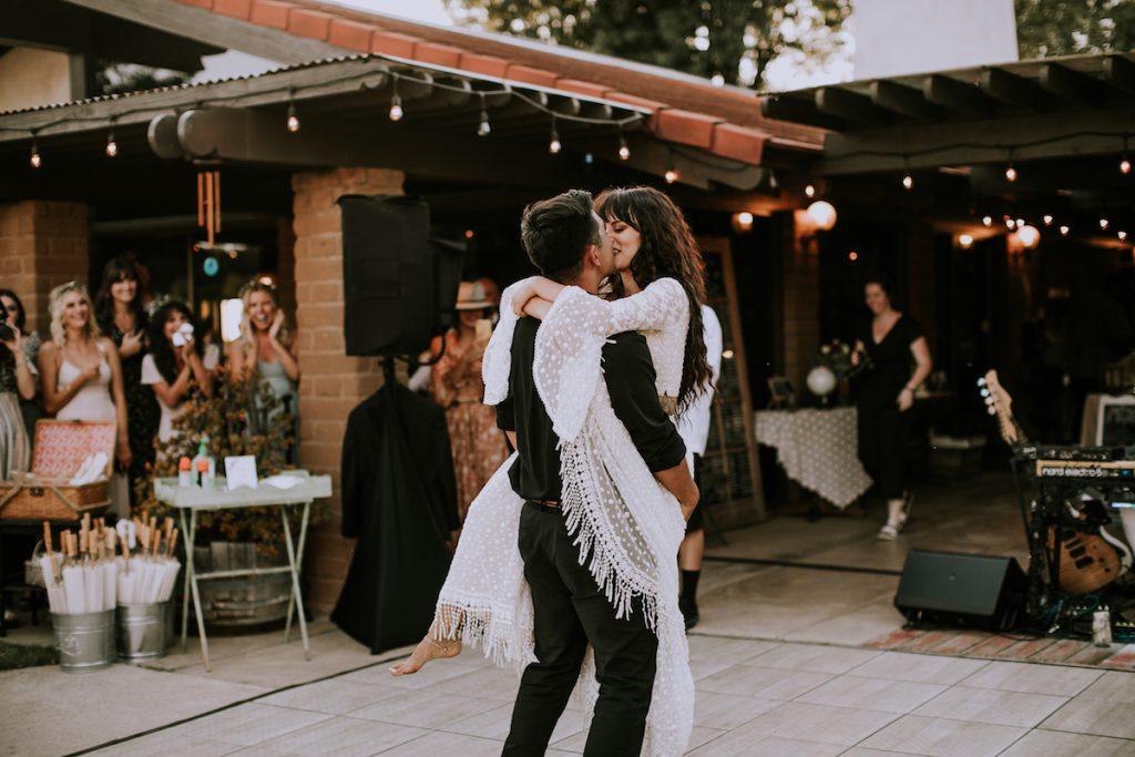 Boho-Bride-Amanda-first-dance-at-condor's-nest ranch