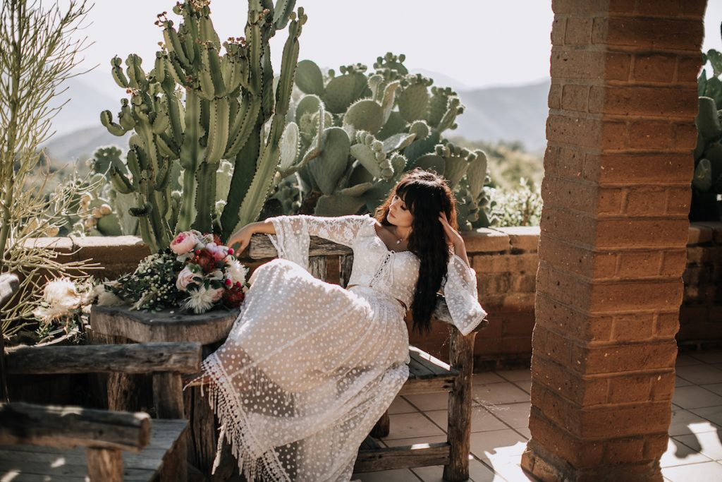 Bride-Amanda-wearing-bohemian-two-piece-wedding-dress-at-Condor's-Nest-Ranch