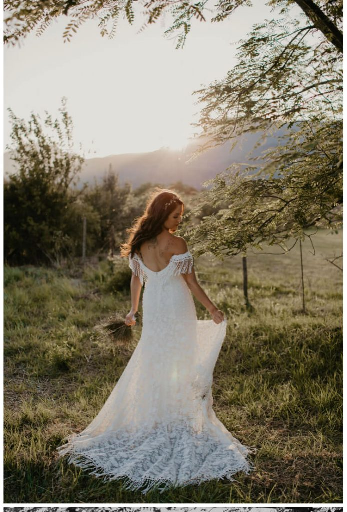 Bohemian Bride in South Africa wearing Heather Fringe Wedding Dress