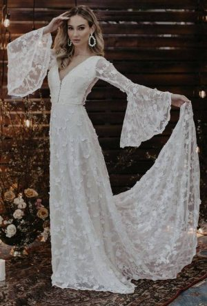 DAWN FLOWY SLEEVE WEDDING DRESS - Long Sleeves with Flowy Skirt