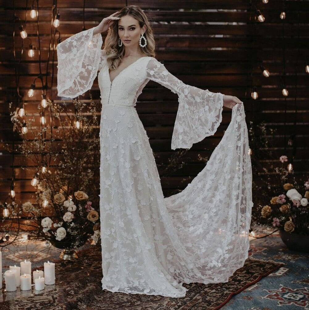 Dawn Long Sleeve V-Neck Wedding Dress