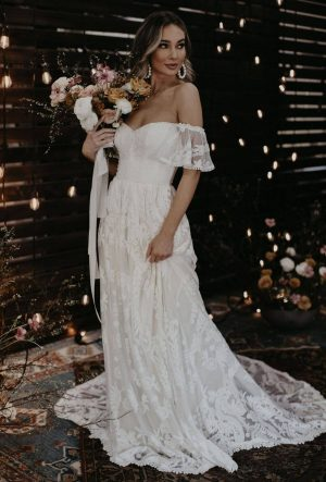 DESIREE OFF SHOULDER A LINE WEDDING DRESS