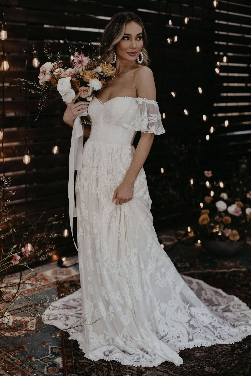 Desiree Off Shoulder A Line Wedding Dress