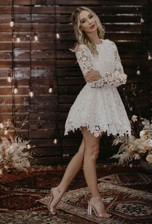 Daniela-lace-long-sleeve-short-wedding-dress-shown-in-white