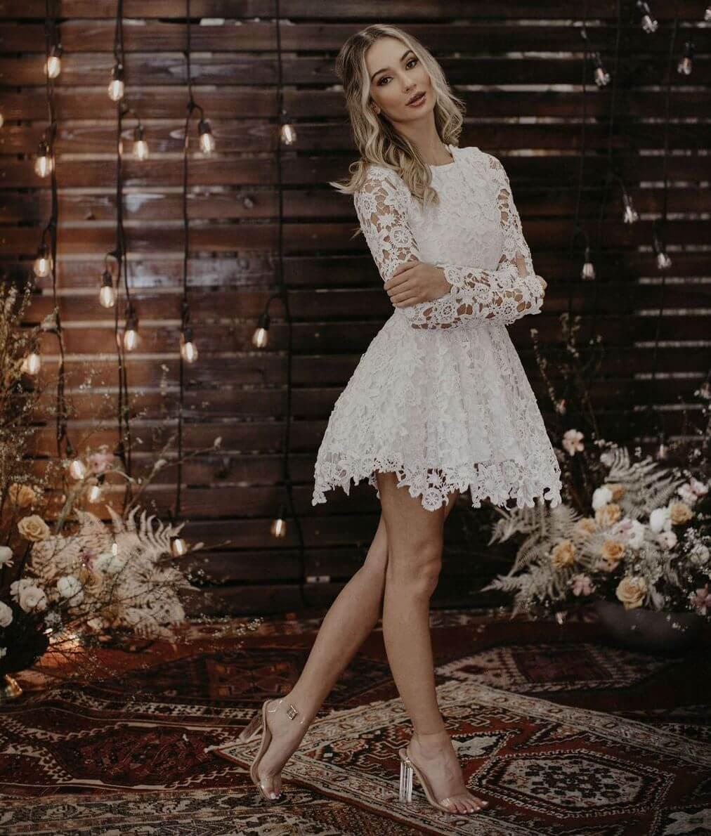 Daniela Short Lace Boho Wedding Dress | Dreamers and Lovers