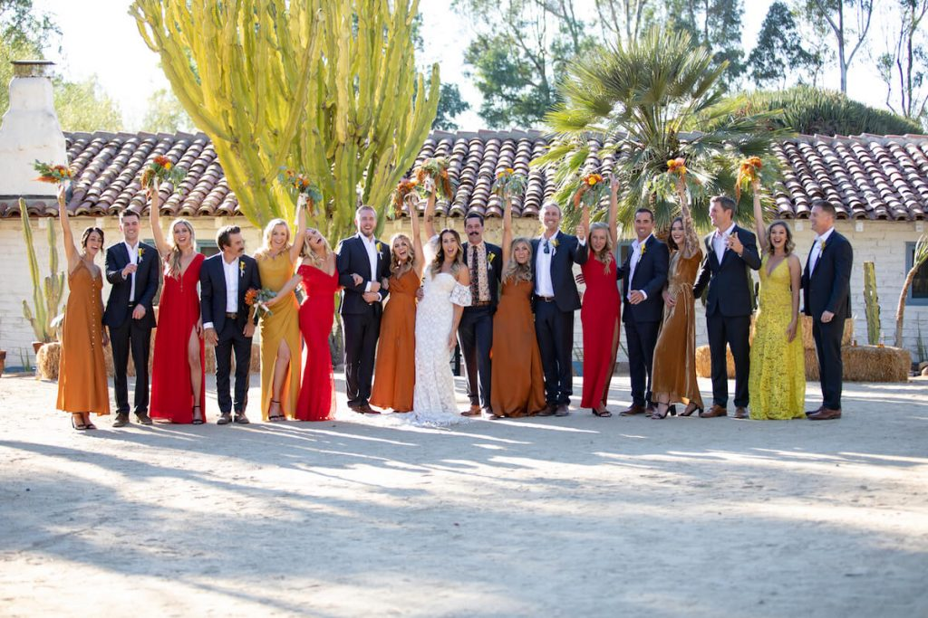 Colorful bridesmaids at the Leo Carrillo Ranch in California