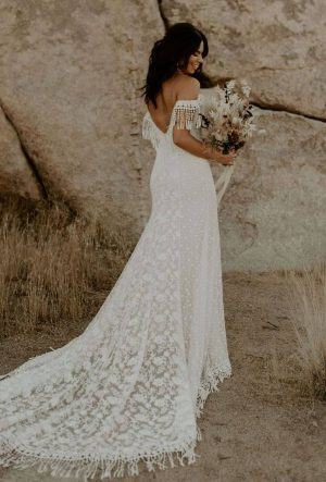 Heather Lace Fringe Wedding Dress