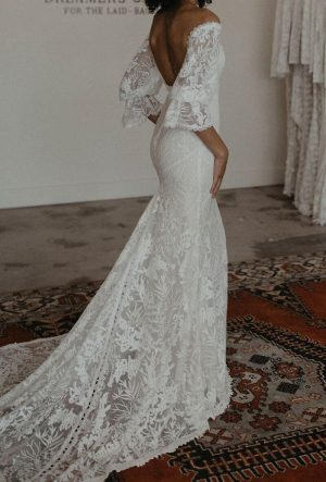 Naomi Off the Shoulder Long Sleeve Wedding Dress