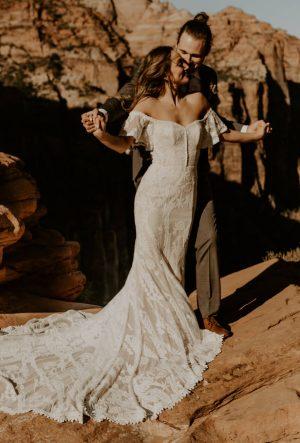 Caroline-off-shoulder-wildflower-weddi ng-dress-in-Zion-national-park