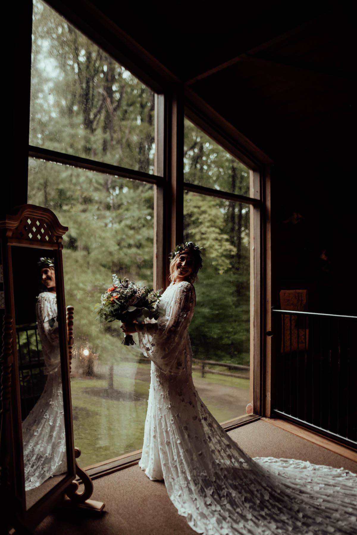 Nature Loving Bride Wearing Bell Sleeve Wedding Dress